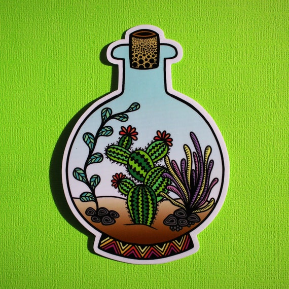 Cactus in a bottle Sticker (WATERPROOF)