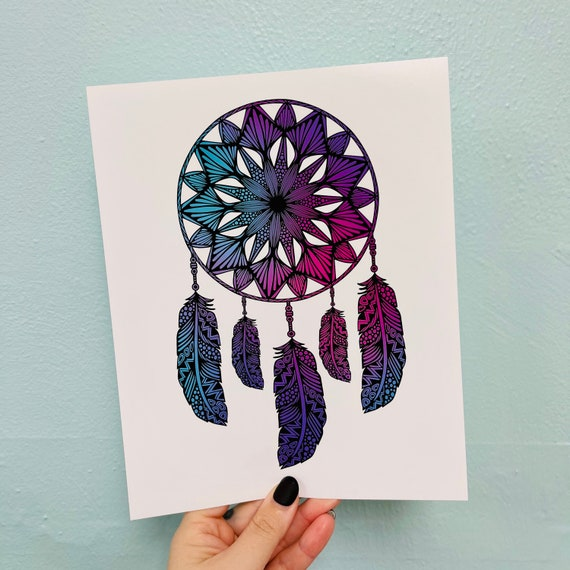 Colored Dream Catcher Print