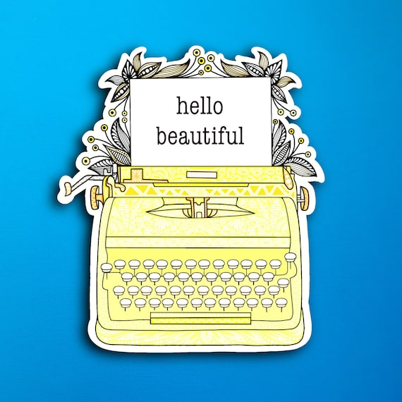 Yellow Typewriter Sticker (WATERPROOF)