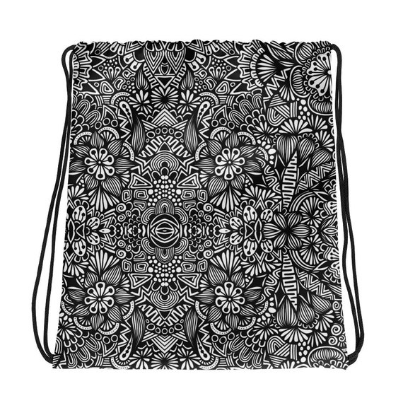 B&W Drawstring bag
