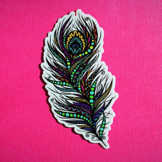Peacock Feather Sticker (WATERPROOF)