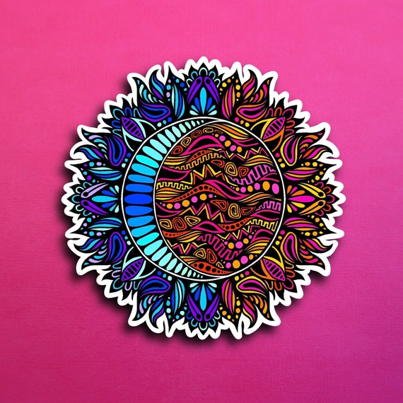 Floral Sun and Moon Sticker (WATERPROOF)
