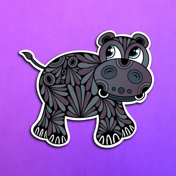 Harvey the Hippo Sticker (WATERPROOF)