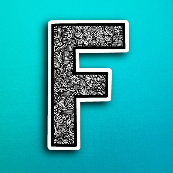 Small Block Letter F Sticker (WATERPROOF)
