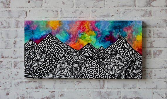 Canvas Mountain Crayon Melt