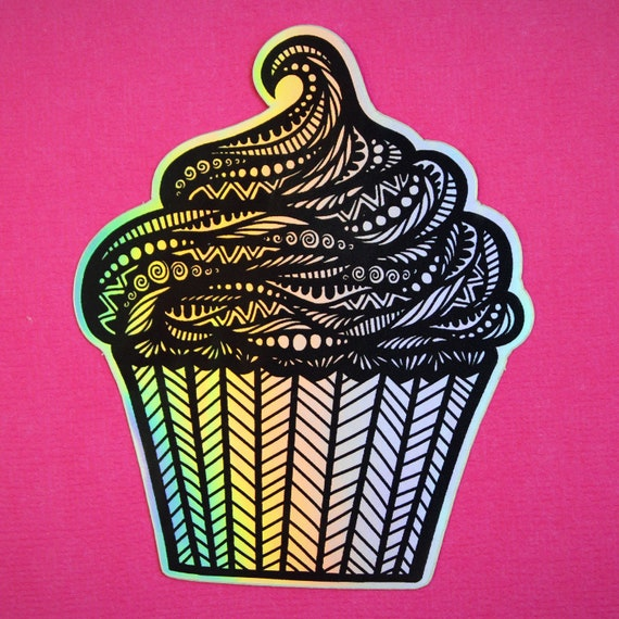 Holo Cupcake Sticker (WATERPROOF)