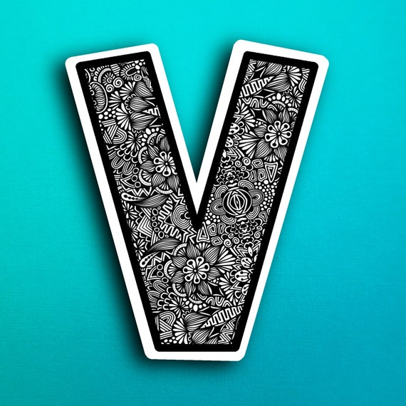 Small Block Letter V Sticker (WATERPROOF)