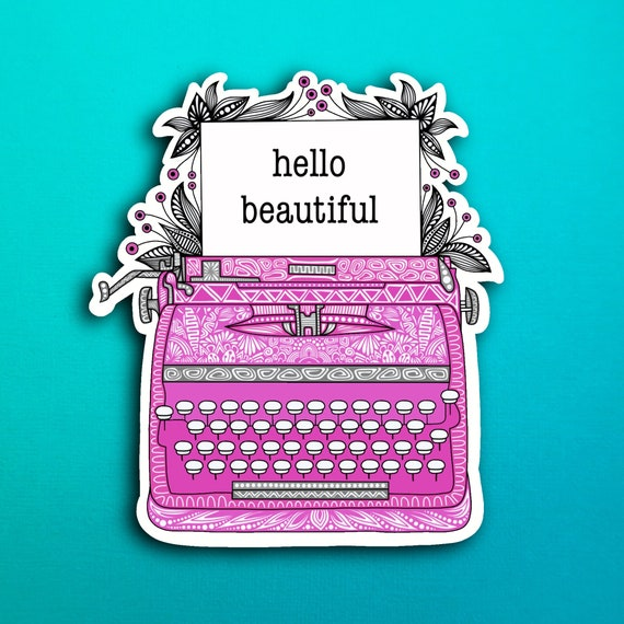 Magenta Typewriter Sticker (WATERPROOF)