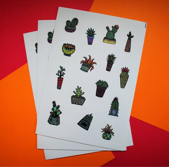 Colored Succulent Sticker Sheet (WATERPROOF)