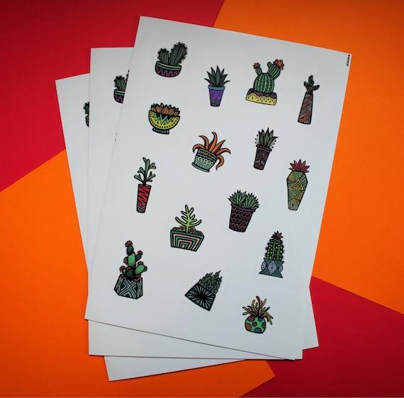 Colored Succulent Sticker Sheet (WATERPROOF)