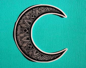 B&W Moon Sticker