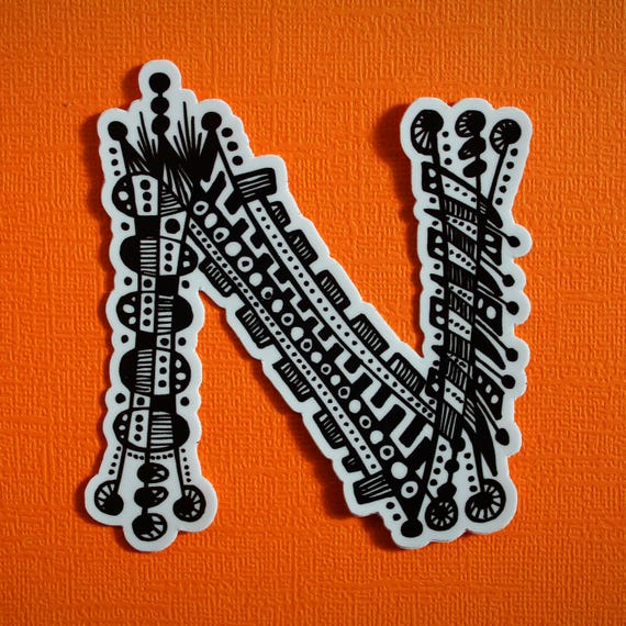 Letter N Sticker (WATERPROOF)