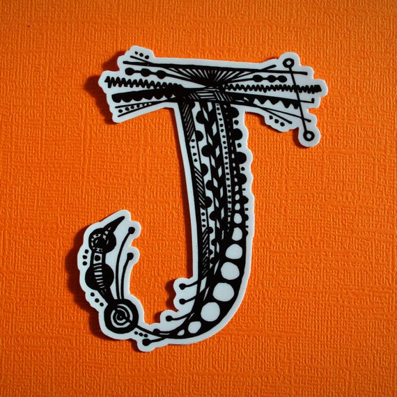 Letter J Sticker (WATERPROOF)