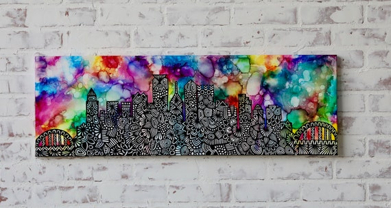 Canvas Pittsburgh Alcohol Ink