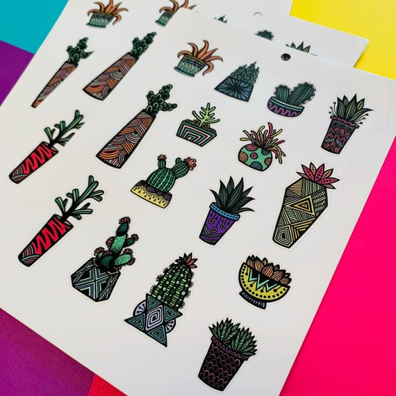 Mini Colored Succulent Sticker Sheet (WATERPROOF)
