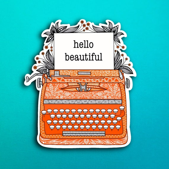 Orange Typewriter Sticker (WATERPROOF)