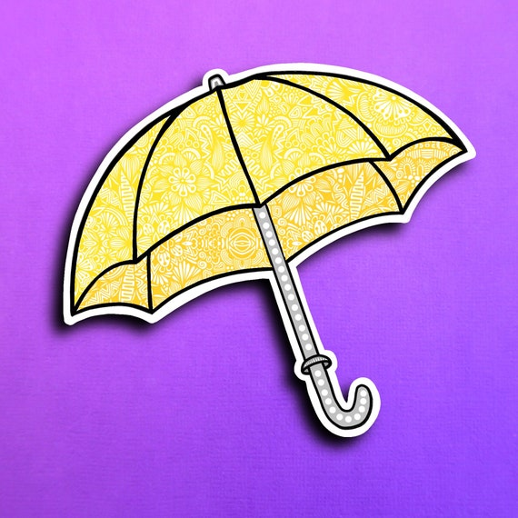 Yellow Umbrella Sticker (WATERPROOF)