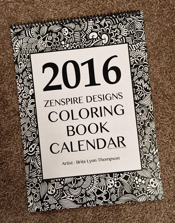 2016 Calendar Coloring Book Version