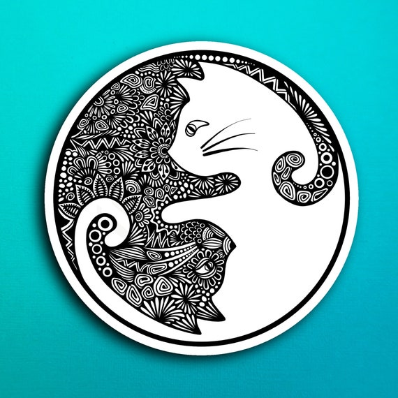 Yin Yang Cat Sticker (WATERPROOF)