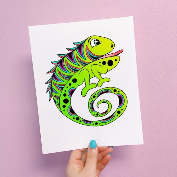 Izzy the Iguana Print