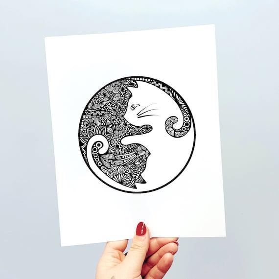 Yin Yang Cat Print