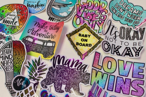 Word Themed Mystery Pack (5 waterproof stickers)