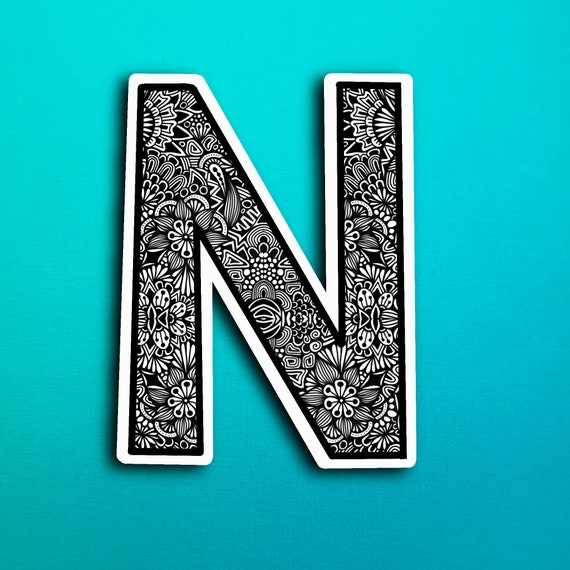 Small Block Letter N Sticker (WATERPROOF)