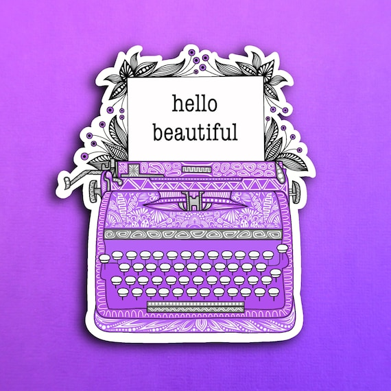 Purple Typewriter Sticker (WATERPROOF)
