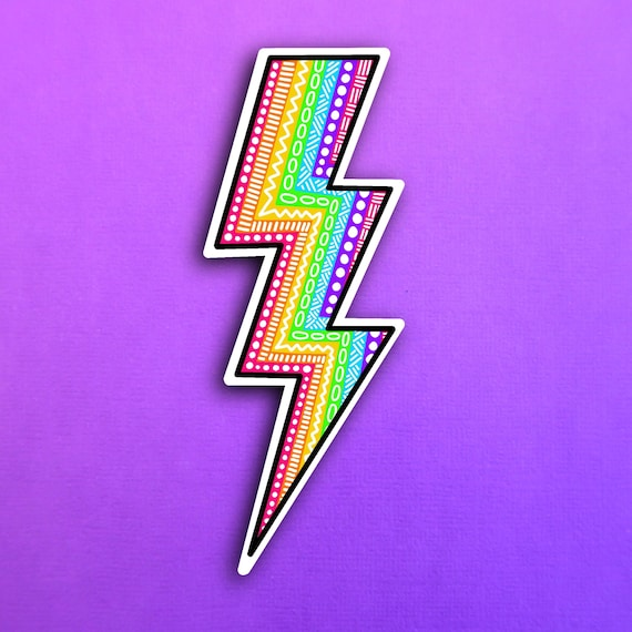 Rainbow Lightening Bolt Sticker (WATERPROOF)