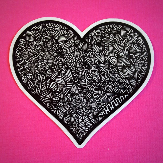 B&W  Heart Sticker (WATERPROOF)