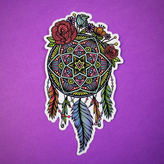 Floral Dream Catcher Sticker (WATERPROOF)