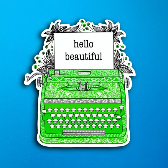 Green Typewriter Sticker (WATERPROOF)
