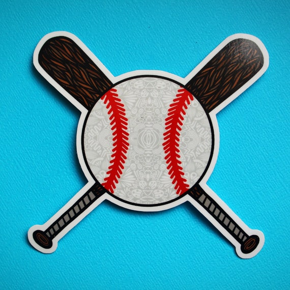 Baseball with Bats Sticker (WATERPROOF)