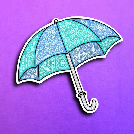 Blue Umbrella Sticker (WATERPROOF)