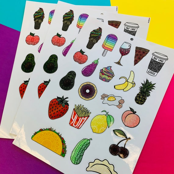 Mini Food Sticker Sheet (WATERPROOF)