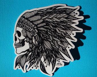 Feather Skull Sticker