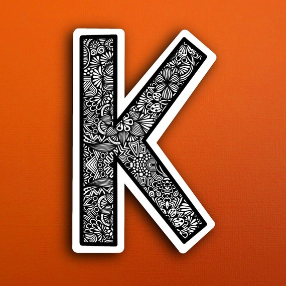 Small Block Letter K Sticker (WATERPROOF)