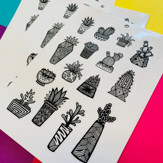Mini BW Succulent Sticker Sheet (WATERPROOF)