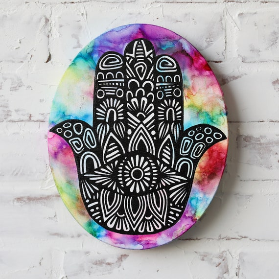 Canvas Hamsa Hand Alcohol Ink
