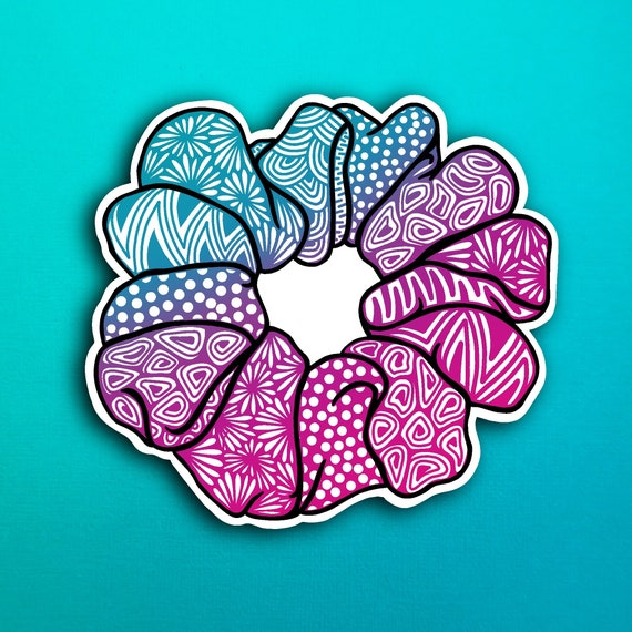 Magenta Scrunchie Sticker (WATERPROOF)