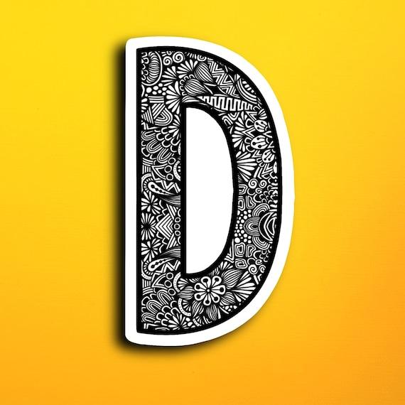 Small Block Letter D Sticker (WATERPROOF)