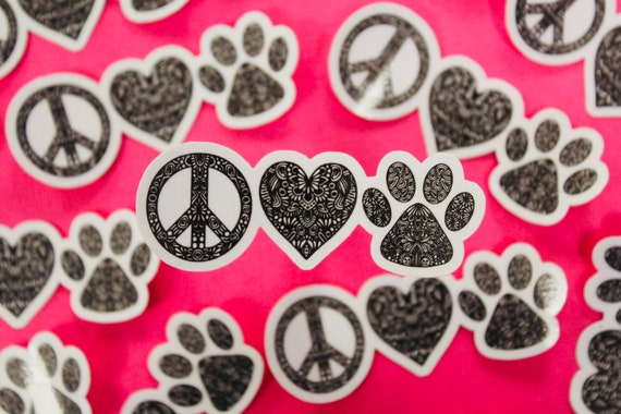 Mini Peace Love Paw Sticker (WATERPROOF)