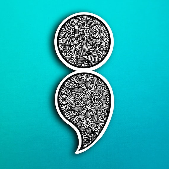 Semicolon Sticker (WATERPROOF)