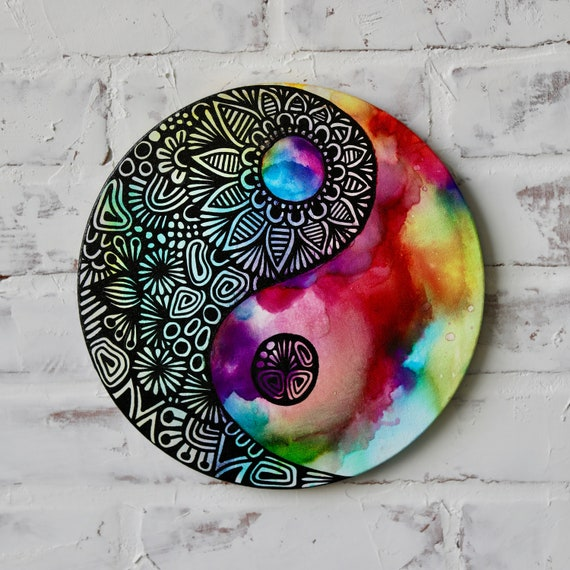 Canvas Yin Yang Alcohol Ink