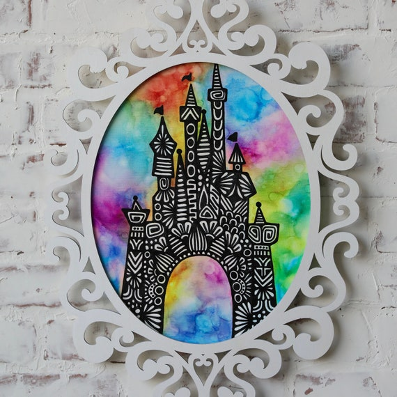 LED LIGHT Framed Canvas Castle Alcohol Ink