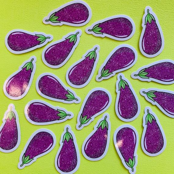 Mini Eggplant Sticker (WATERPROOF)