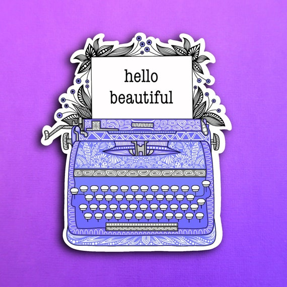 Dark Purple Typewriter Sticker (WATERPROOF)