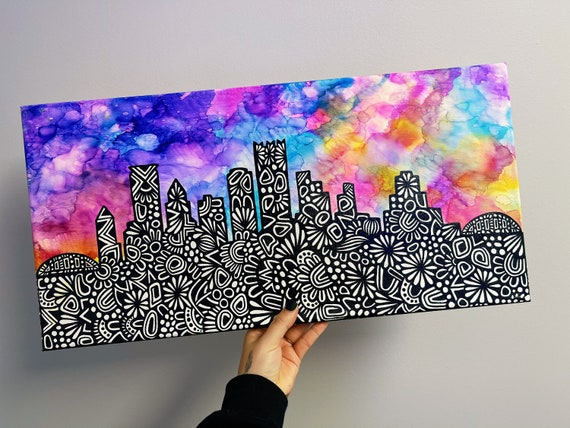 Canvas Skyline Alcohol Ink (you choose skyline)