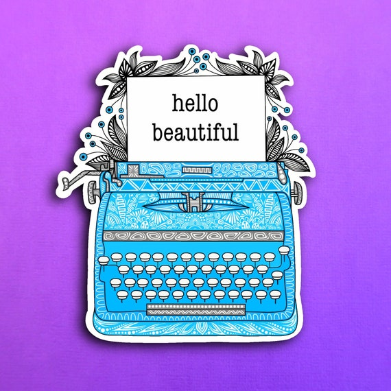 Blue Typewriter Sticker (WATERPROOF)