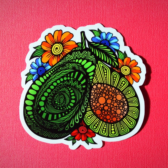 Floral Avocado Sticker (WATERPROOF)